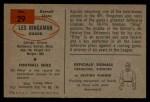 1954 Bowman #29   Les Bingaman Back Thumbnail