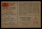 1954 Bowman #71   Arthur DeCarlo Back Thumbnail