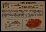 1953 Bowman #42   Tom OConnell Back Thumbnail