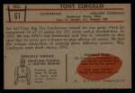 1953 Bowman #61  Tony Curcillo  Back Thumbnail