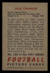 1951 Bowman #135   Jack Lininger Back Thumbnail