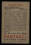 1951 Bowman #23  William Walsh  Back Thumbnail