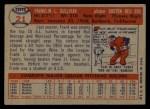 1957 Topps #21   Frank Sullivan Back Thumbnail