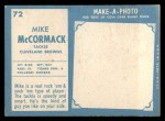 1961 Topps #72   Mike McCormack Back Thumbnail