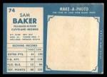1961 Topps #74   Sam Baker Back Thumbnail