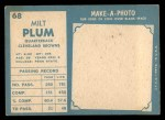 1961 Topps #68   Milt Plum Back Thumbnail