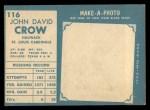 1961 Topps #116  John David Crow  Back Thumbnail