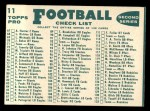 1960 Topps #11  Colts Team Checklist  Back Thumbnail