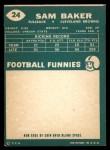 1960 Topps #24  Sam Baker  Back Thumbnail