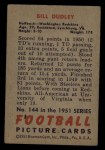 1951 Bowman #144  Bill Dudley  Back Thumbnail