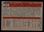 1957 Topps #74  Vito Valentinetti  Back Thumbnail