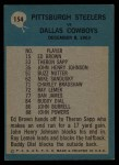 1964 Philadelphia #154  Pittsburgh Steelers  -  Buddy Parker    Back Thumbnail
