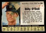 1961 Post Cereal #155 BOX  Billy O'Dell  Front Thumbnail