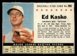 1961 Post Cereal #185 BOX  Eddie Kasko Front Thumbnail