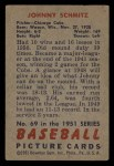 1951 Bowman #69  Johnny Schmitz  Back Thumbnail