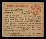1950 Bowman #126   Frank Sinkovitz Back Thumbnail