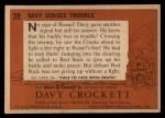 1956 Topps Davy Crockett #28 ORG Davy Senses Trouble   -    Back Thumbnail