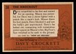1956 Topps Davy Crockett #38 ORG The Knockout   Back Thumbnail