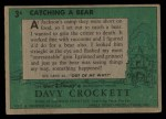 1956 Topps Davy Crockett #3 GRN Catching a Bear   Back Thumbnail