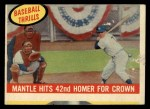 1959 Topps #461  Mantle Hits 42nd Homer for Crown  -  Mickey Mantle Front Thumbnail