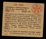 1950 Bowman #19   Joe Geri Back Thumbnail
