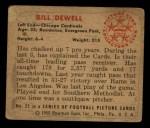 1950 Bowman #22   Billy Dewell Back Thumbnail