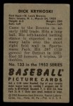 1952 Bowman #133   Dick Kryhoski Back Thumbnail