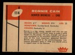 1960 Fleer #114   Ronnie Cain Back Thumbnail