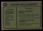 1974 Topps #521   Indians Field Leaders    -  Ken Aspromonte / Clay Bryant / Tony Pacheco Back Thumbnail