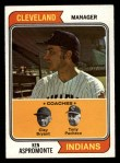 1974 Topps #521   Indians Field Leaders    -  Ken Aspromonte / Clay Bryant / Tony Pacheco Front Thumbnail