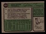 1974 Topps #481   Jerry Terrell Back Thumbnail