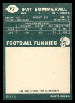 1960 Topps #77  Pat Summerall  Back Thumbnail