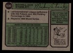 1974 Topps #530   Mickey Stanley Back Thumbnail