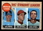 1968 Topps #12  AL Strikeout Leaders  -  Dean Chance / Jim Lonborg / Sam McDowell Front Thumbnail