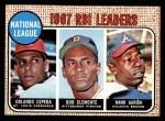 1968 Topps #3  1967 NL RBI Leaders  -  Hank Aaron / Orlando Cepeda / Roberto Clemente Front Thumbnail