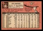 1969 Topps #21   Jose Santiago Back Thumbnail