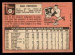 1969 Topps #47 A Paul Popovich  Back Thumbnail
