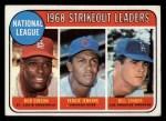 1969 Topps #12  NL Strikeout Leaders  -  Bob Gibson / Fergie Jenkins / Bill Singer Front Thumbnail