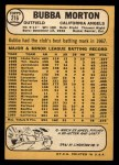 1968 Topps #216   Bubba Morton Back Thumbnail