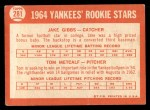 1964 Topps #281   -  Jake Gibbs / Tom Metcalf Yankees Rookies Back Thumbnail