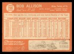 1964 Topps #290  Bob Allison  Back Thumbnail
