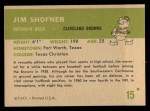 1961 Fleer #15   Jim Shofner Back Thumbnail