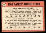 1969 Topps #536  Padres Rookies  -  Dave Roberts / Danny Breeden Back Thumbnail