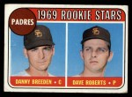1969 Topps #536  Padres Rookies  -  Dave Roberts / Danny Breeden Front Thumbnail