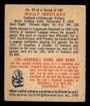1949 Bowman #45   Wally Westlake Back Thumbnail