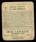 1934 Goudey #13   Frankie Frisch  Back Thumbnail