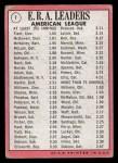 1969 Topps #7  AL ERA Leaders  -  Luis Tiant / Sam McDowell / Dave McNally Back Thumbnail
