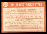 1964 Topps #378  Braves Rookies  -  Woody Woodward / Jack Smith Back Thumbnail