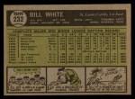 1961 Topps #232   Bill White Back Thumbnail