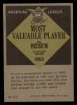 1961 Topps #474   -  Al Rosen Most Valuable Player Back Thumbnail
